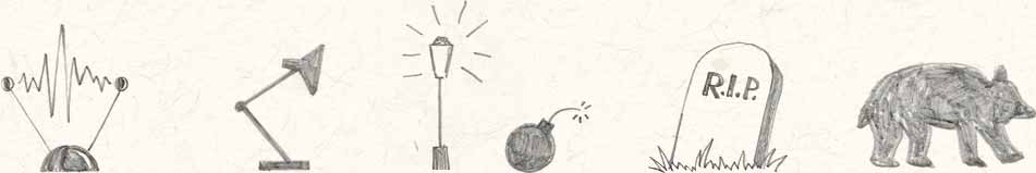 Drawings of a TV antenna, lamp, street light, bomb, gravestone and a bear